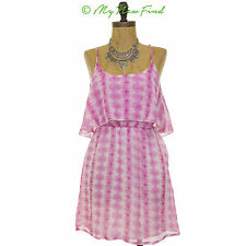 NWOT MIMI CHICA NORDSTROM JUNIORS FOXY RUFFLE FRONT SKATER DRESS TOP PINK S B8