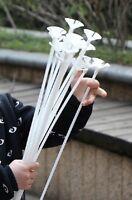 25 White High Grade Balloon cup & 42 cm Stick, Balloon Holder Xmas Party Deco