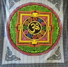 Couverture indienne Tenture Om Mandala multicolore 230x210cm Déco murale