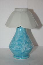 Chic Art Pottery Faux Table Lamp Aqua Blue Drip Glaze Vase & Petal Leaf Shabby