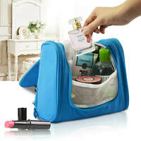 Makeup Bag Folding Storage Cosmetic Travel Toiletry Pouch Quick Pack Case Blue