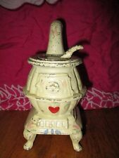 Vintage WHITE  Miniature Cast Iron pot belly Stove doll house or salesman sample