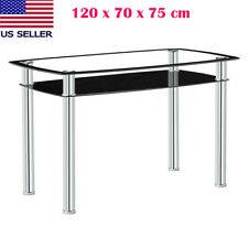 New ListingModern Dining Table Double-Glazed Rectangle Kitchen Dining Room Furniture Black