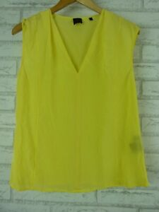 DAVID LAWRENCE Top Blouse Sz 8 Yellow Silk V neck womens