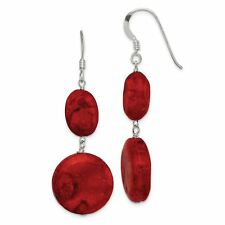 .925 Sterling Silver Reconstituted Red Coral Dangle Earrings Qe6212vj7807
