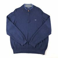 Vineyard Vines Mens Cotton 1/4 Zip Solid Sweater - Slate Blue Size L