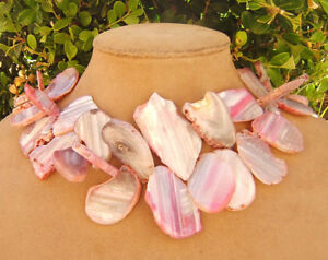 Pink White Agate Chunky Peppermint Statement Necklace Freeform Slab Bead Jewelry