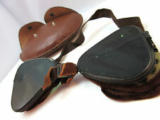 VINTAGE LEATHER WWII WELDING / MOTORCYCLE GOGGLES W/ CASE **