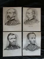 4 Civil War Union Generals - Grant, Sherman, Custer & Meade - FRAME FOR GIFTS