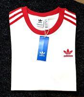 Adidas Originals Womens Trefoil California Tees Crew Neck T Shirt White Red NEW