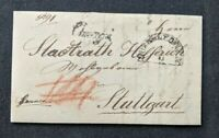 1891 Germany Stampless Domestic Letter Cover to Stuttgart