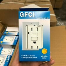 Lot 50 White 15A Weather Resistant Ground Fault Receptacles w/LED GFCI UL Listed