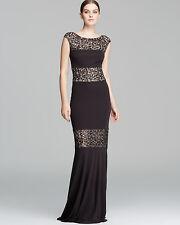David Meister Black Sequin Illusion Inset Jersey Elegant Gown Dress. NWT  Sz.4