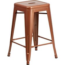 Flash Furniture 24in High Backless Copper Indoor-Outdoor Counter Height Stool