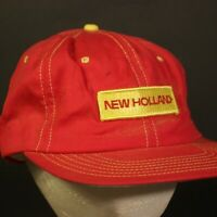 Vintage New Holland Patch Trucker Hat Cap Red Yellow Retro Hipster Snapback