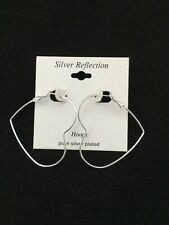 "New ~ Pure Silver Plated Valentine Heart Hoop Earrings 2"" 34.00"