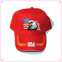 96635f384e7 USA Eagle American Flag Patriotic Embroidered Baseball Cap Hat RED FREE  SHIPPING
