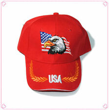 USA Eagle American Flag Patriotic Embroidered Baseball Cap Hat RED FREE SHIPPING