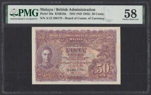 Malaya 50 Cents 1941 1945 aUNC (Pick 10a) PMG-58 (A/12 480178)