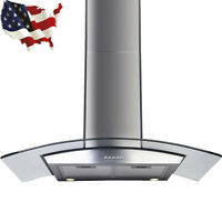 "30"" Range Hood Kitchen Ventilator Wall Mount Stainless Steel Glass Stove VentsFC"