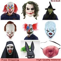 Creepy Scary Halloween Joker Latex Mask Cosplay Party Clown Costume Horror Party
