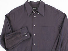 HUGO BOSS Vtg 90s Purple Black Striped L/S Btn Dress Shirt Men's Large 17 34 35