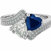 Genuine 925 Silver Ladies Sapphire Blue Heart Wedding Engagement Bridal Ring