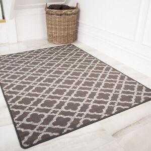 Moroccan Trellis Grey Washable Barrier Mats Kitchen Hall Door Non Slip Mat Rug