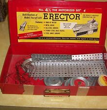 1954 ERECTOR SET METAL CONSTRUCTION BUILDING VTG TOY MID CENT MODERN AMERICANA