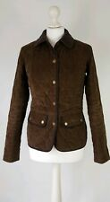 L563 WOMENS BARBOUR VINTAGE CORD BROWN QUILTED JACKET UK 8