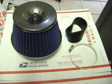 BLUE 3'' INLET HIGH FLOW COLD INTAKE ROUND CONE MESH AIR FILTER