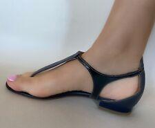 D&G Dolce & Gabana Navy Blue Leather Sandals EUR37
