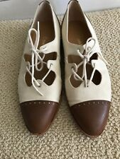 Vtg 1980s Calvin Klein Two Tone Cream Brown Leather Brogues Oxfords Flats Shoes