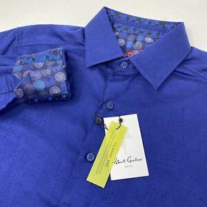 Robert Graham Walden Men's Navy Blue Geometric Flip Cuff Long Sleeve Shirt New