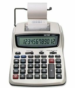 Victor Printing Calculator 1208-2 Compact and Reliable Adding Machine with 12...