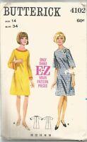 Butterick Sewing Pattern 4102, Vintage 1960's A- Line Dress, Size 14 Bust 34