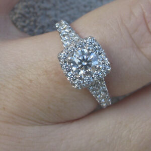 $10,270  Hearts on Fire G/VS 1.52ct Natural Diamonds 18k White Gold Ring