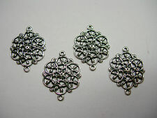 Silver Plated Brass Victorian Floral Filigree Earring Drops Connectors 4
