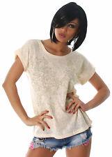 Damen T-Shirt Top Shirt Freizeit einfarbig Fledermaus-Look mit Pailletten Größe
