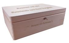 abschließb. Holzbox/ Holzkiste Gr. 2 Kiefer unbeh. incl. Lasergravur n.Wunsch