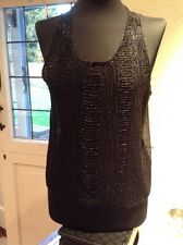 Black Chiffon Back And Heavy Beaded Front Fluted Bottom Vest One Size