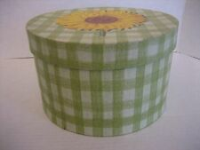 Green & White Checkerboard Round Storage Box with Sunflower on Top 6 1/3 in.R NW