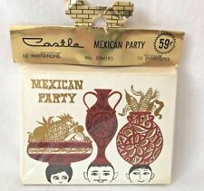 Vintage MidCentury Modern Mexican Party Invitations Cards Castle 10 Pack