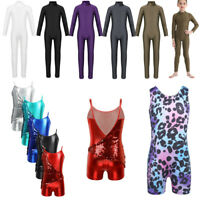 Girls Ballet Dance Leotards Jumpsuits Gymnastics Full Bodysuit Dancewear Costume