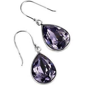 Silver Teardrop Earrings with Tanzanite Colour Crystal Drop Earrings E3347M