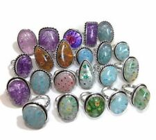 50 PCs. Aqua, Flower Dichroic Glass 925 Sterling Silver Plated Ring Jewelry