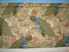 Handmade 100% Cotton Yellow Blue Brown White Peacock Floral  Window  Valance