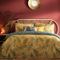 Mustard Duvet Covers Tropical Palm Leaf Reversible Ochre Quilt Cover Bedding Set