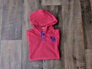 Abercrombie & Fitch felpa cappuccio bambino rossa logo blu taglia xl 14 16 anni