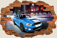 3D Hole in Wall Ford Shelby Gt500 View Wall Stickers Film Decal Mural 750